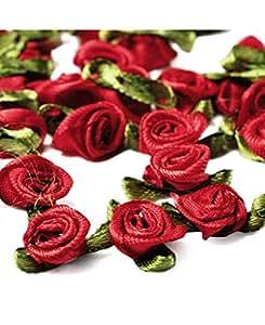 amazon com ajetex 100pcs satin ribbon rose flower 12mm wedding