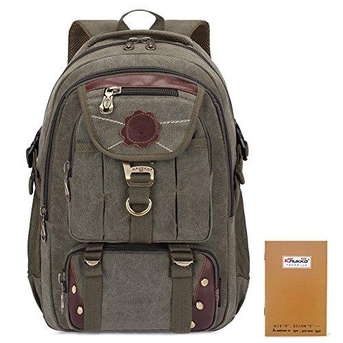 KAUKKO Canvas Backpack Vintage Causal Rucksack Unisex Backpacks for Travel Camping Hiking Army Green