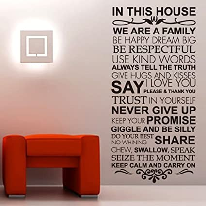 Newsee Decals House Rules Family love Large wall stickers quotes decals  home lettering art .