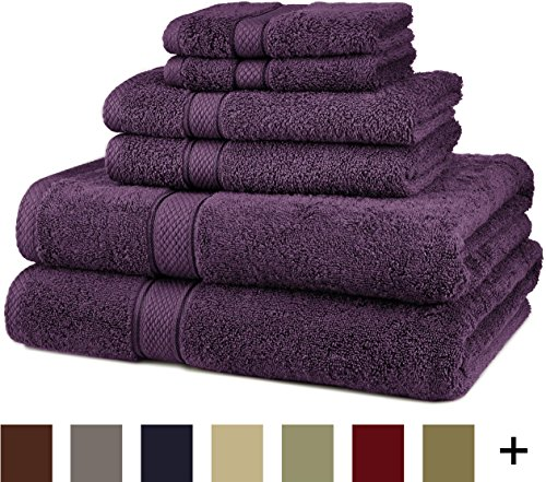 Pinzon Blended Egyptian Cotton 6-Piece Towel Set, Plum