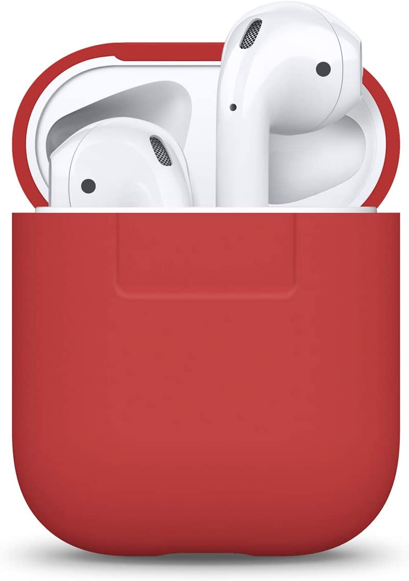 elago Funda Silicona Compatible con Apple AirPods 1 & 2 (LED Frontal no Visible) - Soporta Carga inalámbrica, Extra Protección (Rojo)