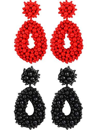 meekoo Bohemian Drop Earrings Handmade Hoop Earrings Flower Statement Bead Earrings Beaded Jewelry Earrings Women Gift Jewelry for Mom Sisters Friends (Black, Red)
