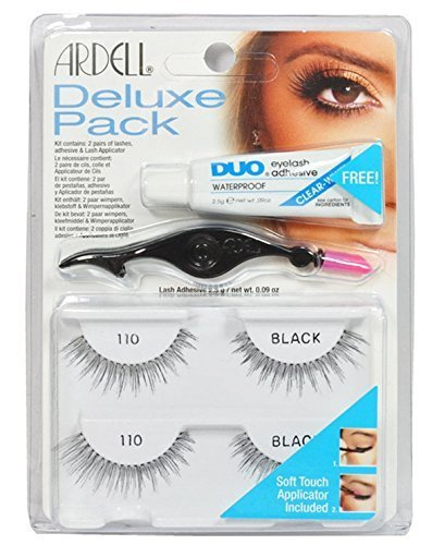 Ardell Eye Lash 110 Black Deluxe Pack [ 2 Paires of lashes + Adhesive & Lash Applicator]