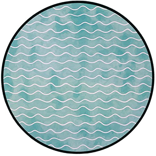 (Printing Round Rug,Nautical,Soft Pastel Colored Ocean Sea Waves Pattern Summer Vibes Inspired Graphic Mat Non-Slip Soft Entrance Mat Door Floor Rug Area Rug For Chair Living Room,Turquoise)