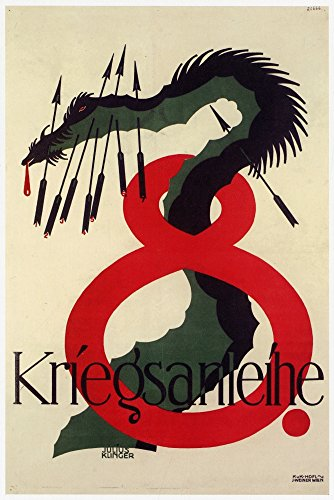 Large numeral eight with a dragon stabbed with arrows Julius Klinger (May 22 1876 ? 1942) was an Austrian Painter draftsman illustrator commercial graphic artist typographer and writer Poster Print b