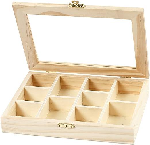 Caja con tapa de cristal, medidas 15,5x20,5x3,5 cm, medida agujero 4,3x4,3 cm, pino, 1ud, medida agujero 4,3x6,6 cm: Amazon.es: Hogar
