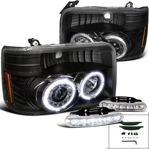 Spec-D Tuning L12-2LHPF15092JMV2TM Fog Headlight (Euro Black Halo Projector LED Lamp) ()