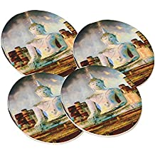 Budda of Thailand Painting - Round Sandstone Drink Coaster (set of 4) by Elements of Space