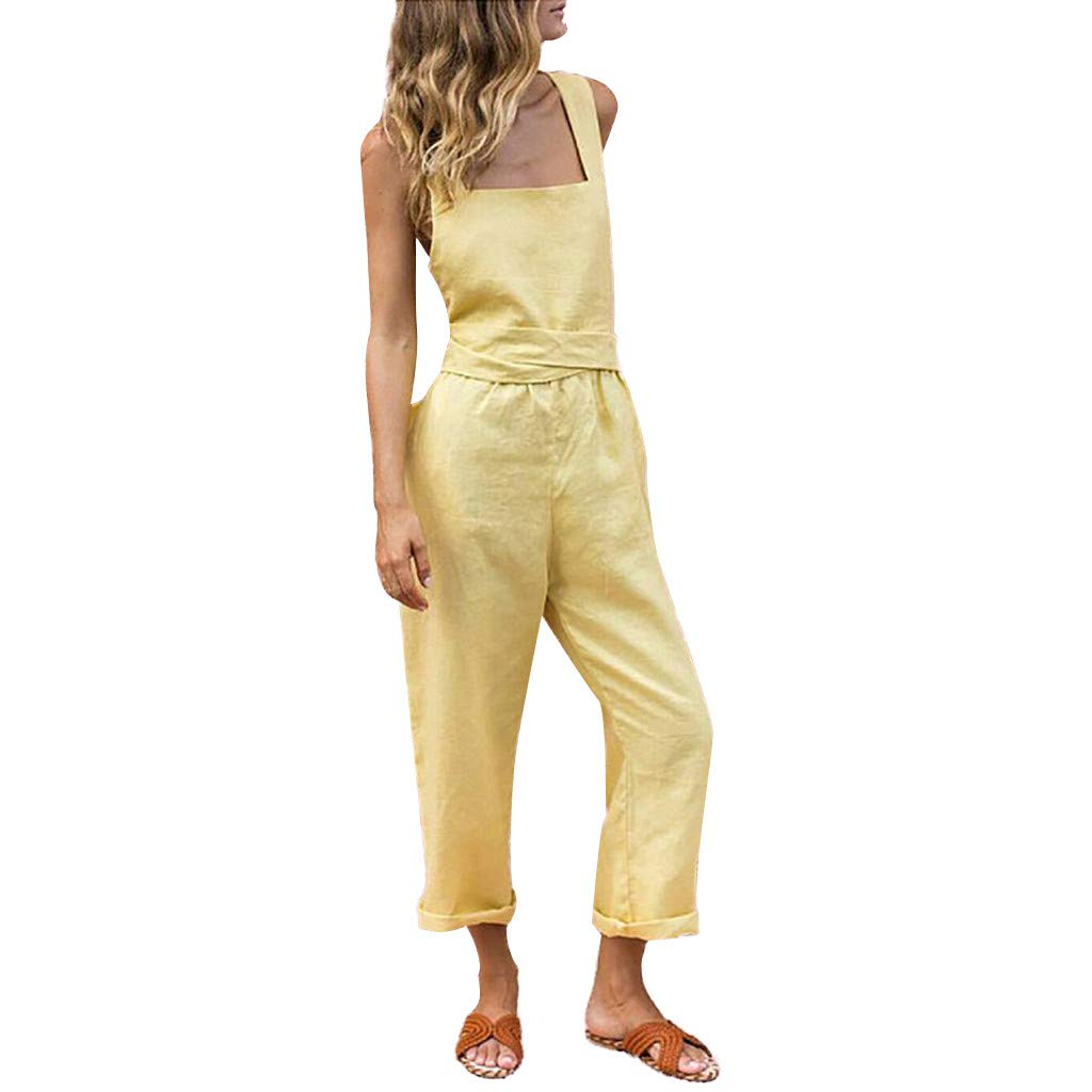Benficial Women Fashion Casual Camisole Solid High Waist Summer Long Jumpsuit