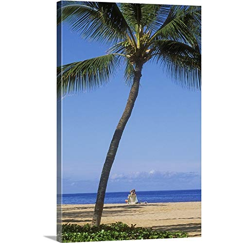 - GREATBIGCANVAS Gallery-Wrapped Canvas Entitled Hawaii, Lanai, Manele Bay Beach Park, Palm Tree and Woman On The Beach by Greg Vaughn 12