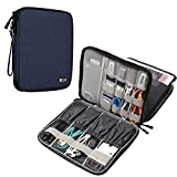 BUBM Electronics Organizer, Double Layer Electronics Bag Compatible with iPad, Cables, Plugs, External Hard Drives and More, Dark Blue