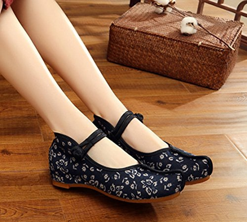 AvaCostume Floral Pattern Nose Toe Womens Distinctive Old Beijing Shoes Blue HpO3s