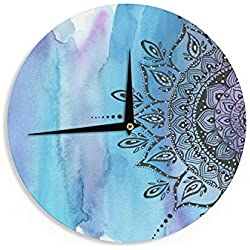 """Blue Mandala"" Aqua Black Wall Clock"