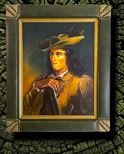 17TH C. BUFFALO HUNTER - ORIGINAL OIL PAINTING FRAMED BY HANDCRAFTED ITALIAN (Hunter Muzzleloader)