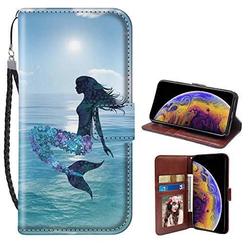 Mermaid iPhone Xs Max Case for Kickstand PU Leather Card Slot Magnetic Flip Wristlet Phone Cover iPhone Xs Max Mermaid Wallet Case ()