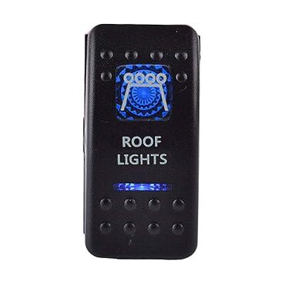 ESUPPORT Car Blue LED Roof Light Rocker Toggle Switch ON OFF 12V 20A, 24V 10A: Automotive