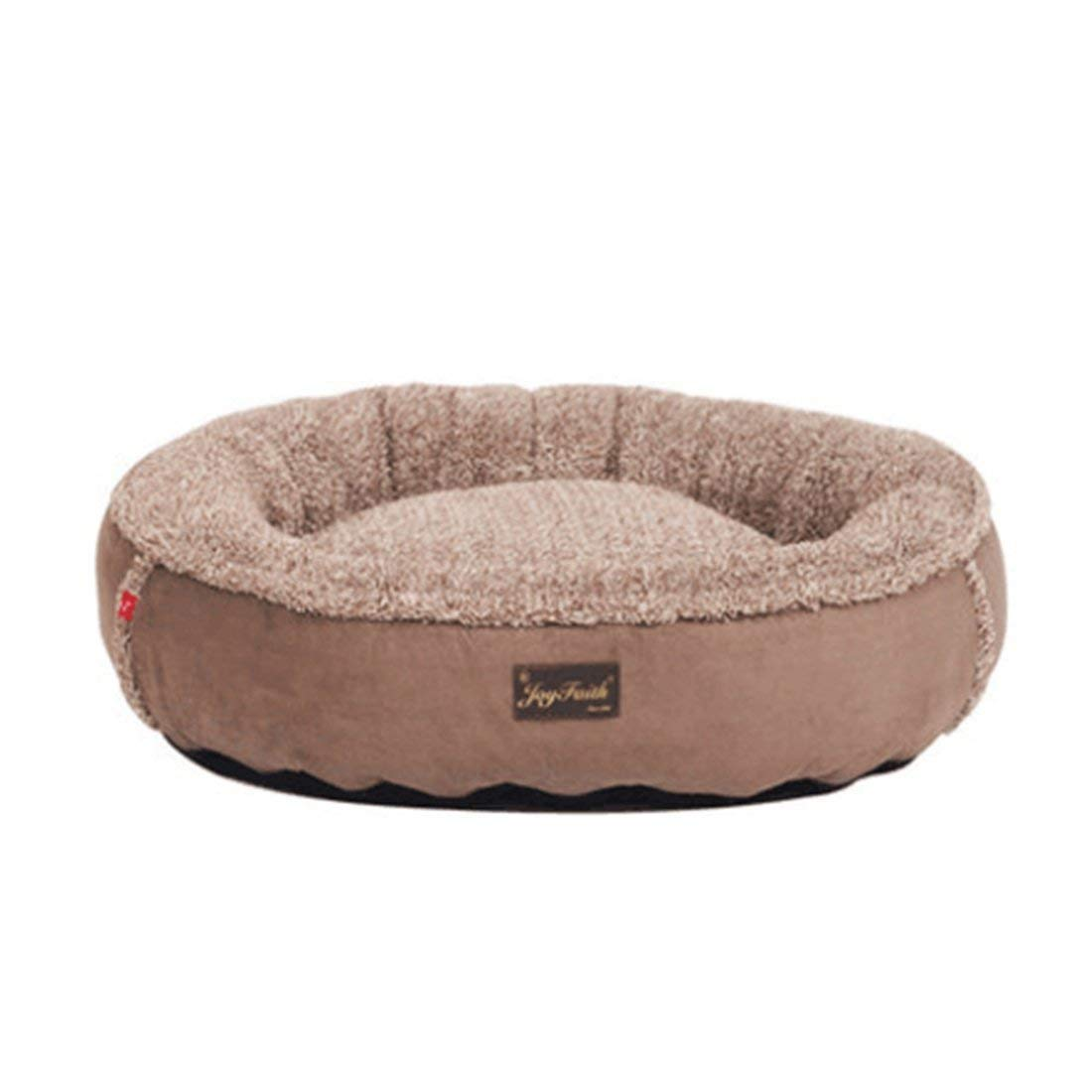 KIUJHY Fashion round Pet Nest, Kennel Mat Pet Supplies Detachable Clean Four Seasons Universal Soft and Comfortable Deep Sleep 65  55  15Cm (L)