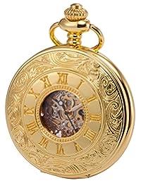 KS Vintage Gold Tone Hollow Case Roman Numerals Dial Mechanical Pocket Watch KSP031