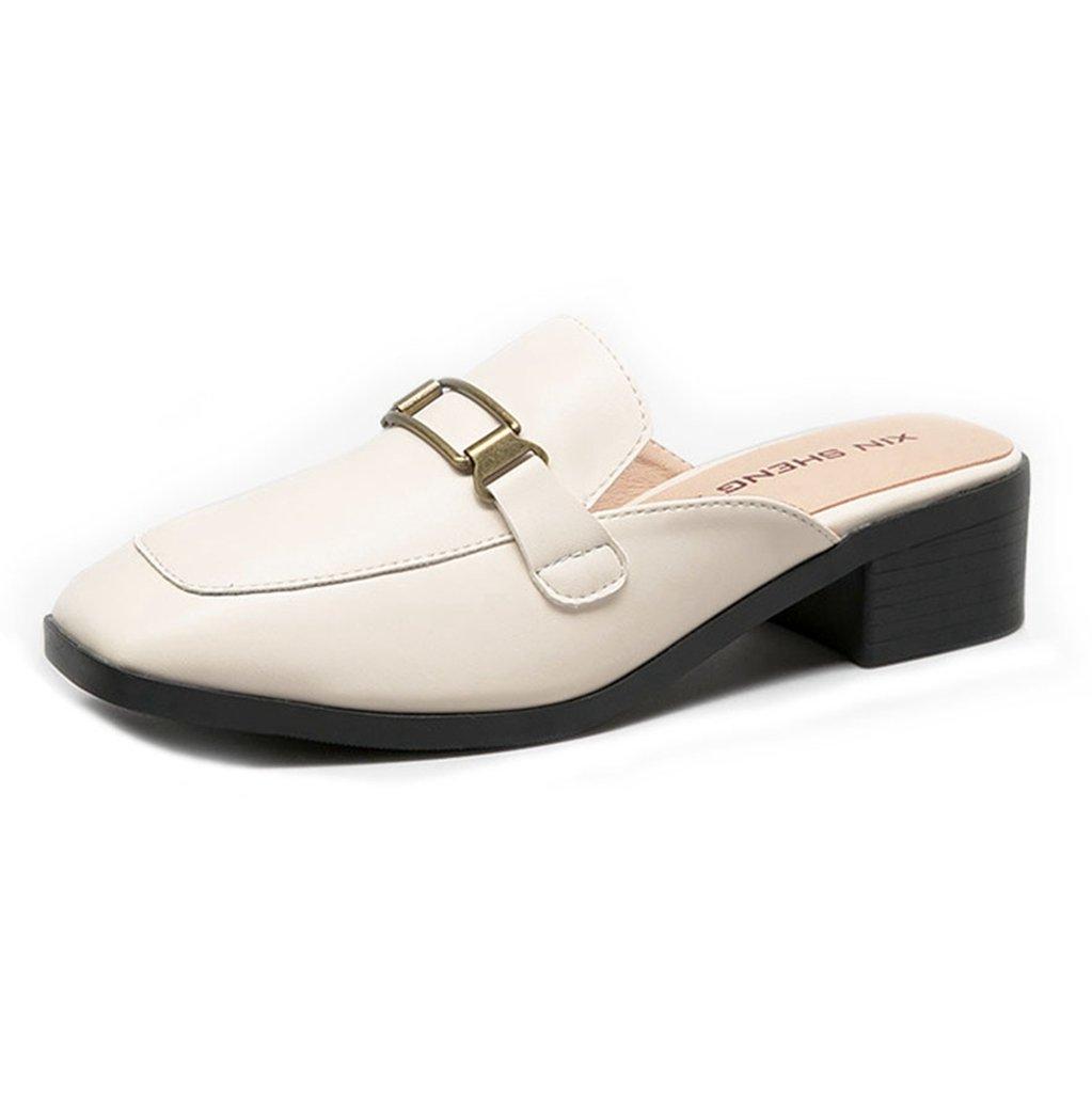 GIY Women Mule Backless Round Toe Casual Flats Loafer Slip On Clogs Slide Slipper