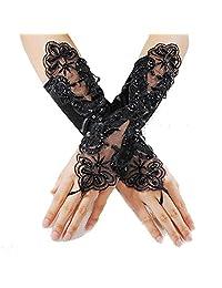 Polytree Women's Lace Bridal Wedding Dress Gloves Fingerless Satin Gloves - Black