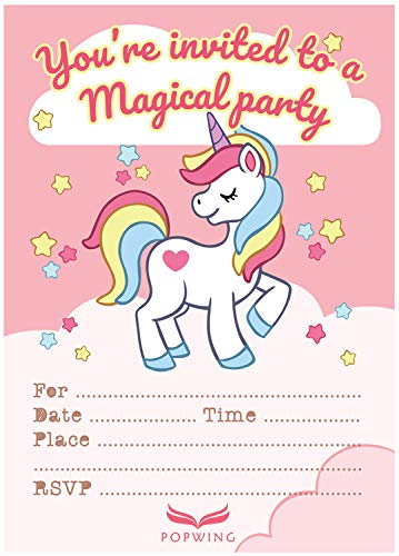 POPWING 30 Unicorn Party Birthday Invitations with Envelopes for Girls, Daughter ()