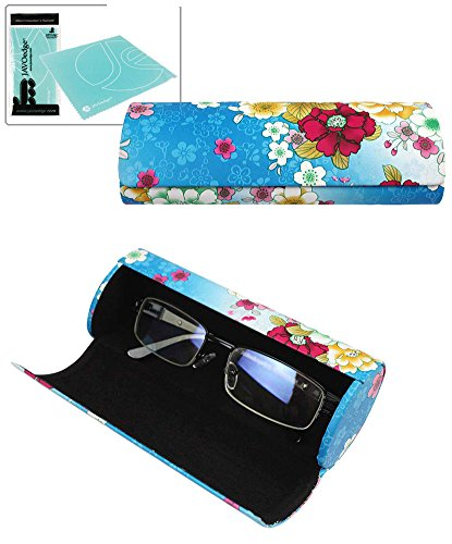 JAVOedge Blue Floral Pattern Long Oval Hard Glasses Case with Black Lining Plus Bonus Mircofiber Cleaning Cloth