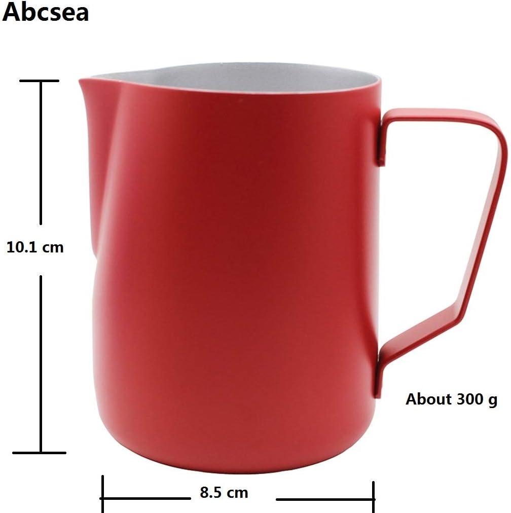 arra de leche,600 ml azul Abcsea 1 pieza jarra de espuma de leche,jarra de acero inoxidable