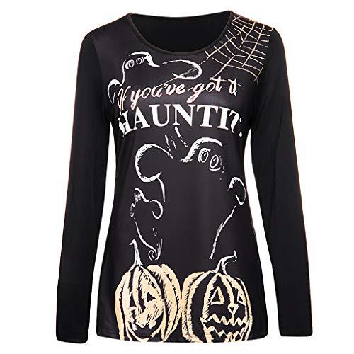 Famous Female Duo Costumes (KLFGJ Long Sleeve Halloween Women Costume Fun Pumpkin Print T-Shirt Tee)