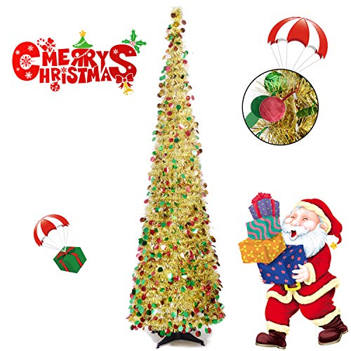 Collapsible Christmas Trees 6 Foot Artificial Tinsel Xmas Tree, Pop Up Multicolored Pencil Sequin Coastal for Holiday, Apartment, Party, Home, Office, Christmas Decorations, Fireplace-Colorful Gold (Trees Xmas Decorated)