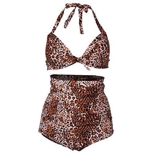 LESTAR Femme Rétro à pois imprimé floral de bain push-up Bikini Vintage Taille Haute pour Femme