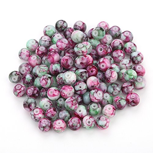 Navifoce Artistic Marble Design Various Color Round Loose Beads Lampwork Glass Bead for Jewelry Making Craft,8mm Diameter (Rose Red & Green) - Lampwork Beads Jewelry