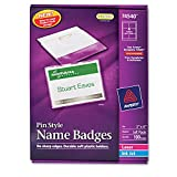 Avery 74540 Name Badge Kit,Easy Pkt,Pin,Top Load,3''x4'',100/BX,WE