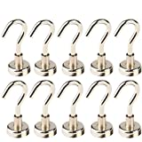 Multi-Function Heavy Duty Magnetic Hooks Silver(10 Pack),LGDehome Super Strong Neodymium Magnetic Hanging Hook Widely Used Indoor Outdoor Kitchen Bedroom Bathroom Garage (D16 16mm)