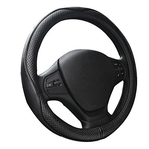 Has Wheels - Vmotor Premium Genuine Leather Steering Wheel Cover Universal 15 Inch - Anti-Slip Solid and Has Decent Traction Black
