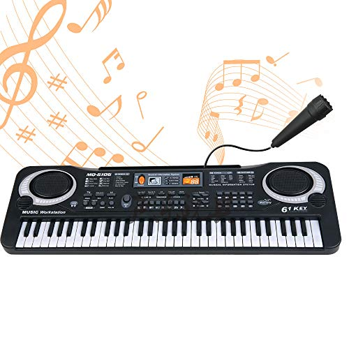 OrzBuy 61 Key Piano Keyboard, Portable Electronic Digital Piano Musical Instruments with Built-in Speaker/Microphone/Recording/App Integration, Piano Educational Toys for Beginners