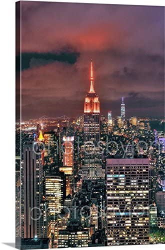 Photosbyjon Canvas New York City Nyc Skyline Night 16 Inches X 24 Inches Color City Downtown Empire State Building Esb Photographic Print Photo Picture Posters Prints