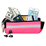 Running Belt,Waterproof Waist Packs with Earphone Hole Key Pocket Towel Pocket Fluorescent Tape Placed Your Cellphone and Money/Card for All Sizes of Phone Fit for Hiking Cycling (Rose)
