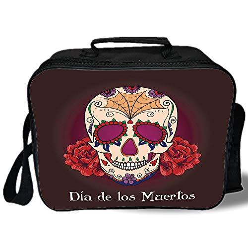 Day Of The Dead Decor 3D Print Insulated Lunch Bag,Dia de Los Muertos Quote with Spanish Skull Dead Head Vivid Print,for Work/School/Picnic,Plum Red Cream (Dia De Los Muertos At The Pearl)