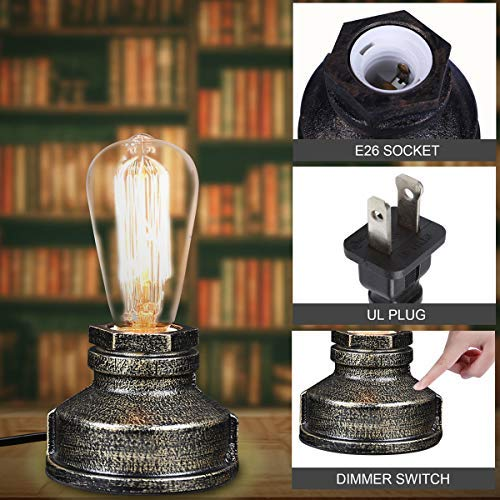 No Bulb Included Vintage Table Lamp Touch Control,Ambimall Antique Small Industrial Desk Lamp,Steampunk Accent Lamp with E26 Edison Base Perfect for Bedroom//Living Room//Nightstand//Bedside