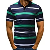 vermers Mens Fashion Polo Shirts Summer Casual Buttons Striped Short Sleeve T Shirt(M, Green)