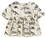 Mini honey Infant Baby Girls Summer Playwear Sun Dresses One-Piece Dress With Dinosaurs Print (0-3 Months, Beige)