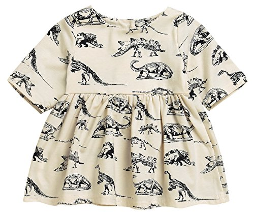 Mini honey Infant Baby Girls Summer Playwear Sun Dresses One-Piece Dress With Dinosaurs Print (3-6 Months, Beige) by Mini honey