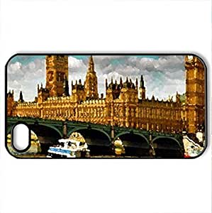 Romantic London - Case Cover for iPhone 4 and 4s (Watercolor style, Black)