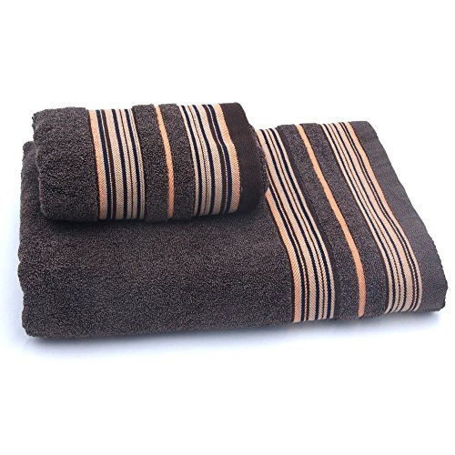 Luxury Bath Towels Made of Premium 100% Cotton 2 Piece 700 GSM High Absorbency and Multipurpose Quick Drying Hotel Quality,and Super Soft(bath towel 27X54 inch and hand towel 13X30 inch) (Chocolate)