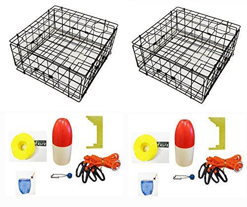 2-Pack of KUFA Vinyl Coated Crab Trap & Accessory Kit (100' Lead CoreRope, Clipper,Harness,Bait Case & 14'' Red/White Float) (S60+CAC3)x2 by KUFA