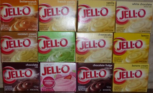 Strawberry Pudding - Jell-O Instant Pudding Sampler (Pack of 12 Different Flavors 3.3-3.9)