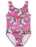 Jxstar Teen Girl One Piece Swimsuits Unicorn Kid Beach Wear Cross Back Swimwear