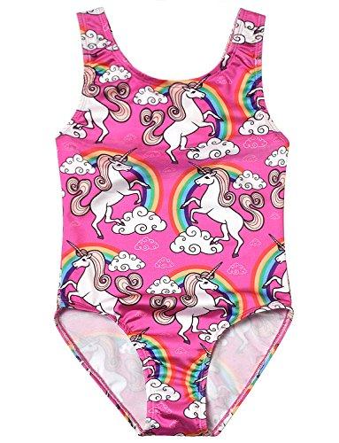 Jxstar Teen Girl One Piece Swimsuits Unicorn Kid Beach Wear Cross Back Swimwear by Jxstar