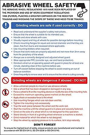 Rigid Plastic Posters and Information Abrasive wheel dangers /& precautions poster