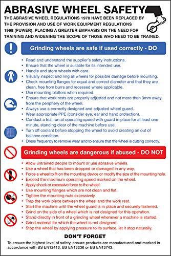 Abrasive wheel dangers /& precautions poster Posters and Information Rigid Plastic